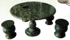 Hand carved stone Rounded Table with set of 4 chairs