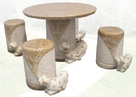 Hand carved stone Rounded Table Dogs pulling cloth with set of 4 chairs